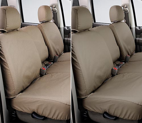 covercraft polycotton seat cover taupe and wet sand