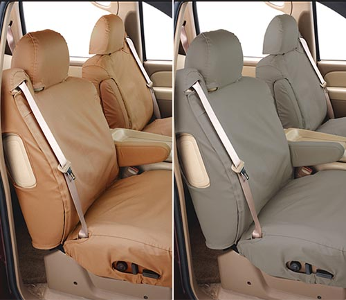 covercraft polycotton seat cover tan and misty gray