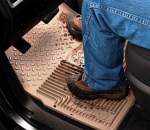 husky heavy duty floor mat tan driver
